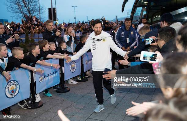 Lionel Messi of Argentina arrives before the International Friendly match between Italy and Argentina at Etihad Stadium on March 23 2018 in...