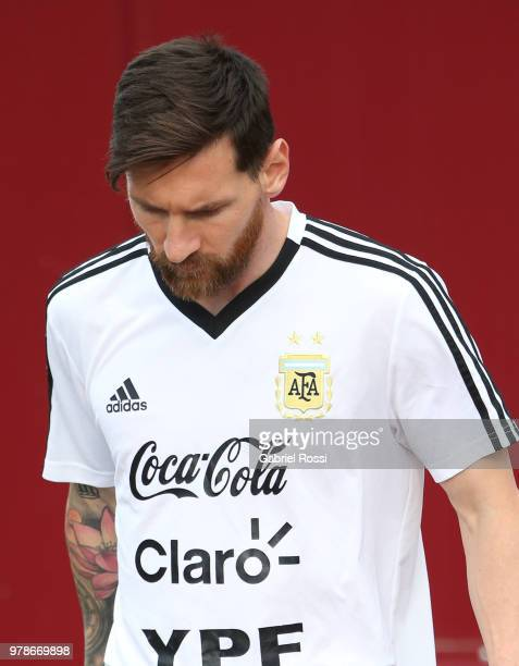 Lionel Messi of Argentina arrives prior a training session at Stadium of Syroyezhkin sports school on June 19 2018 in Bronnitsy Russia