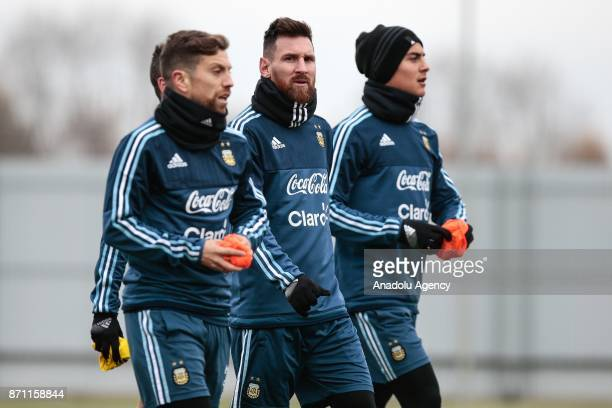 Lionel Messi of Argentina attends a training session at Spartak Stadium on November 7 2017 in Moscow Russia