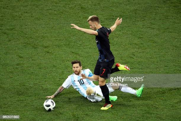 Lionel Messi of Argentina battles for possession with Ivan Rakitic of Croatia during the 2018 FIFA World Cup Russia group D match between Argentina...