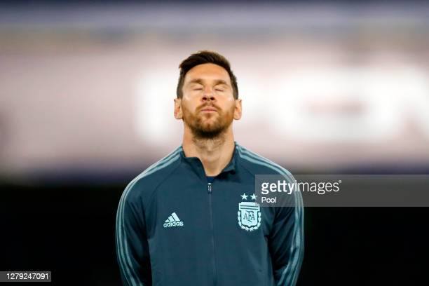 Lionel Messi of Argentina before a match between Argentina and Ecuador as part of South American Qualifiers for Qatar 2022 at Estadio Alberto J....