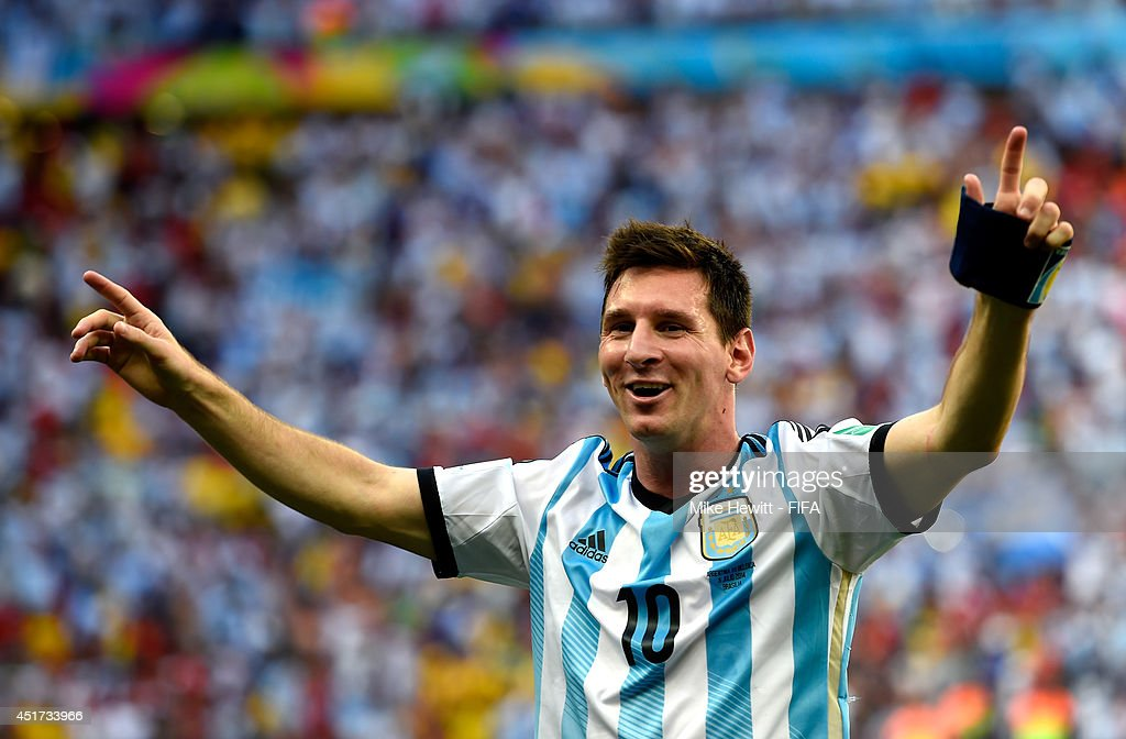 Lionel Messi of Argentina celebates the 1-0 win after the 2014 FIFA World Cup Brazil Quarter Final match between Argentina and Belgium at Estadio Nacional on July 5, 2014 in Brasilia, Brazil.