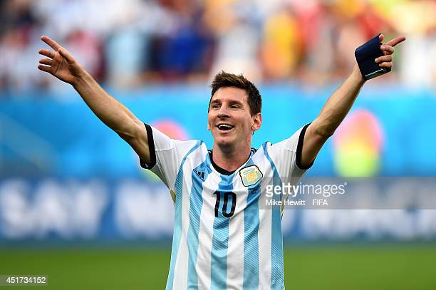 Lionel Messi of Argentina celebates the 1-0 win after the 2014 FIFA World Cup Brazil Quarter Final match between Argentina and Belgium at Estadio...