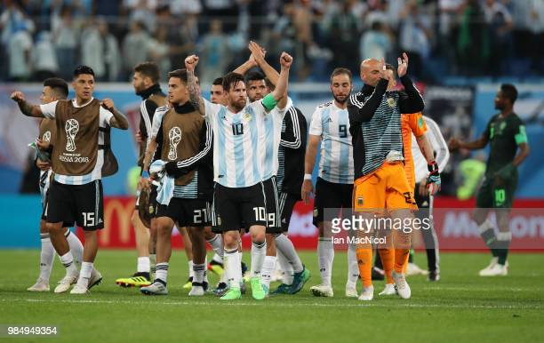 Lionel Messi of Argentina celebrated sat full time during the 2018 FIFA World Cup Russia group D match between Nigeria and Argentina at Saint...
