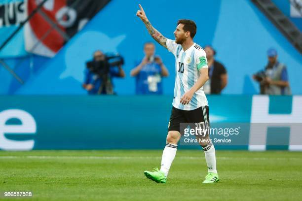 Lionel Messi of Argentina celebrates a point in the 2018 FIFA World Cup Russia group D match between Nigeria and Argentina at Saint Petersburg...