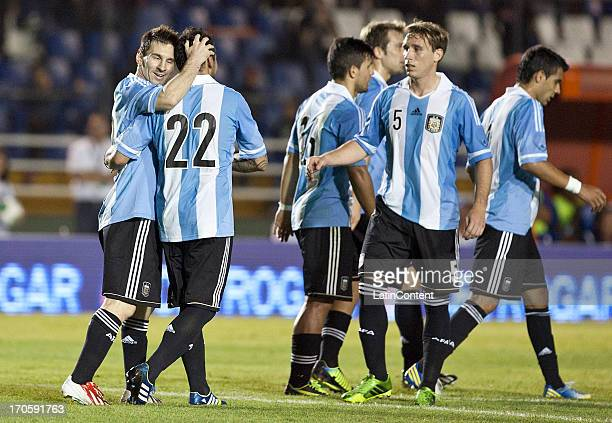 Lionel Messi of Argentina celebrates a socored agoal during a friendly soccer match between Argentina and Guatemala at Mateo Flores stadium on June...