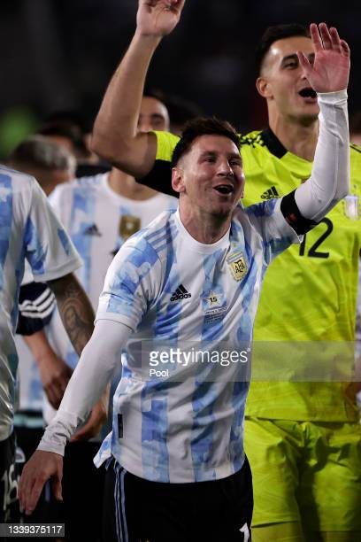 Lionel Messi of Argentina celebrates after a match between Argentina and Bolivia as part of South American Qualifiers for Qatar 2022 at Estadio...