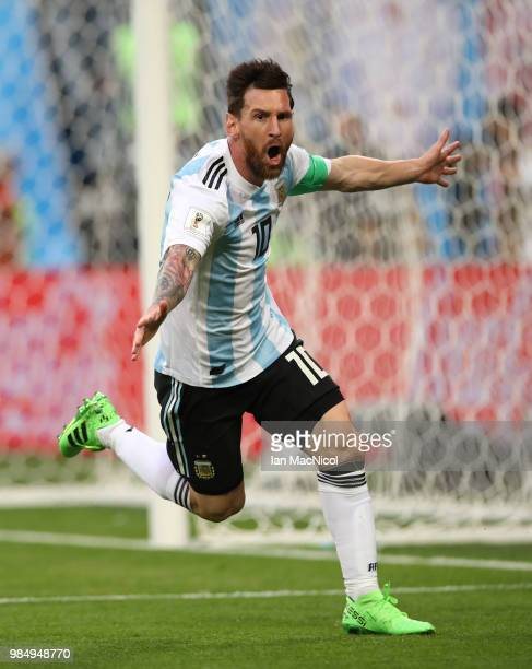 Lionel Messi of Argentina celebrates after he scores the opening goal during the 2018 FIFA World Cup Russia group D match between Nigeria and...