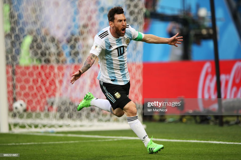 Lionel Messi of Argentina icelebrates after he scores the opening goal during the 2018 FIFA World Cup Russia group D match between Nigeria and Argentina at Saint Petersburg Stadium on June 26, 2018 in Saint Petersburg, Russia.