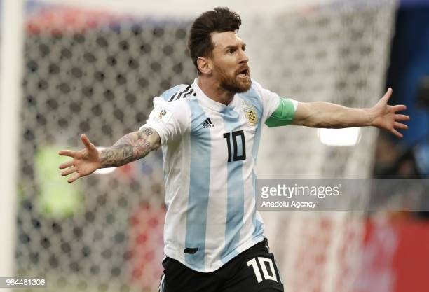 Lionel Messi of Argentina celebrates after scoring a goal during the 2018 FIFA World Cup Russia Group D match between Nigeria and Argentina at the...
