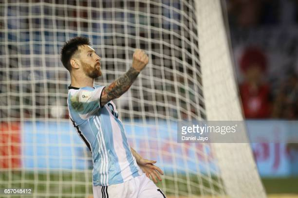 Lionel Messi of Argentina celebrates after scoring his team's first goal during a match between Argentina and Chile as part of FIFA 2018 World Cup...