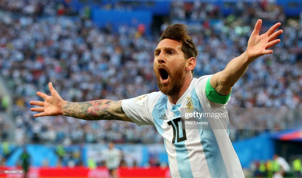 Lionel Messi of Argentina celebrates after scoring his team's first goal during the 2018 FIFA World Cup Russia group D match between Nigeria and Argentina at Saint Petersburg Stadium on June 26, 2018 in Saint Petersburg, Russia.