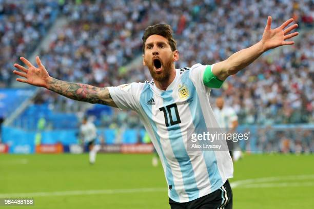Lionel Messi of Argentina celebrates after scoring his team's first goal during the 2018 FIFA World Cup Russia group D match between Nigeria and...