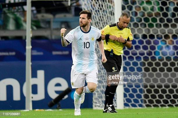 Lionel Messi of Argentina celebrates after scoring the equalizer via penalty during the Copa America Brazil 2019 group B match between Argentina and...