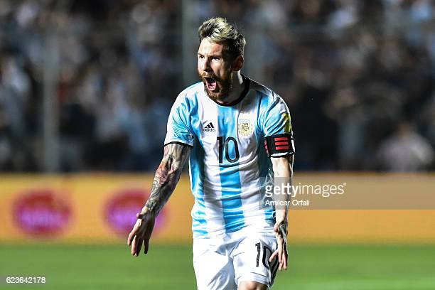 Lionel Messi of Argentina celebrates after scoring the first goal of his team during a match between Argentina and Colombia as part of FIFA 2018...