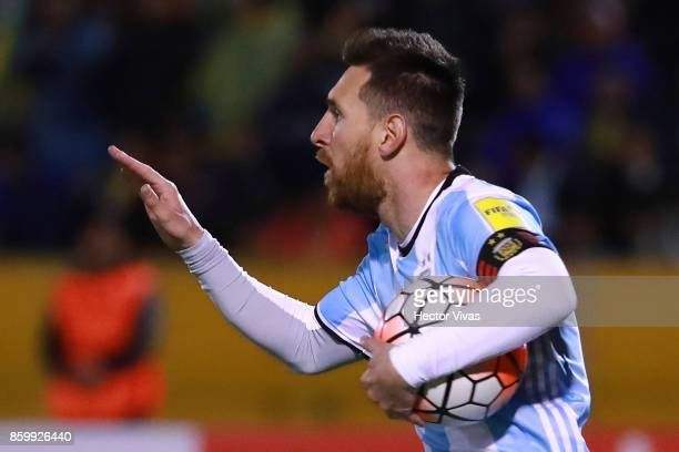 Lionel Messi of Argentina celebrates after scoring the first goal of his team during a match between Ecuador and Argentina as part of FIFA 2018 World...