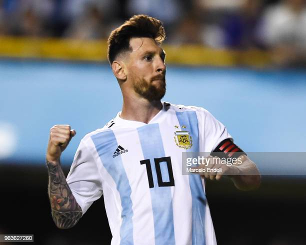 Lionel Messi of Argentina celebrates after scoring the first goal of his team during an international friendly match between Argentina and Haiti at...