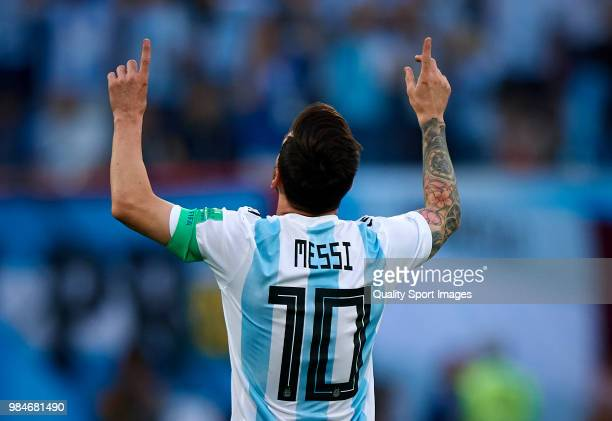 Lionel Messi of Argentina celebrates after scoring the first goal during the 2018 FIFA World Cup Russia group D match between Nigeria and Argentina...
