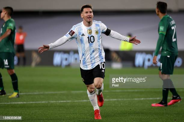 Lionel Messi of Argentina celebrates after scoring the opening goal during a match between Argentina and Bolivia as part of South American Qualifiers...