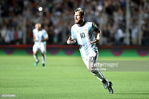 Lionel Messi of Argentina celebrates after scoring the opening goal during a match between Argentina and Colombia as part of FIFA 2018 World Cup...