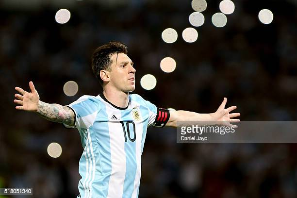Lionel Messi of Argentina celebrates after scoring the second goal of his team during a match between Argentina and Bolivia as part of FIFA 2018...