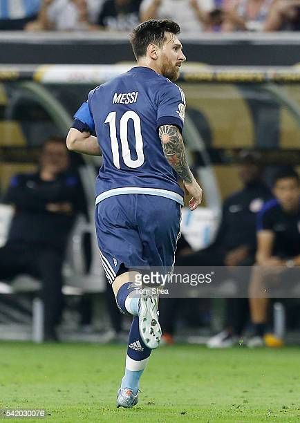 Lionel Messi of Argentina celebrates after scoring the second goal of his team during the Semifinal match between United States and Argentina at NRG...