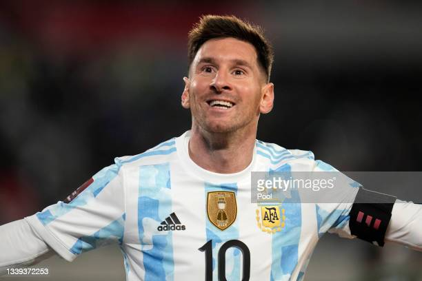 Lionel Messi of Argentina celebrates after scoring the third goal of his team during a match between Argentina and Bolivia as part of South American...