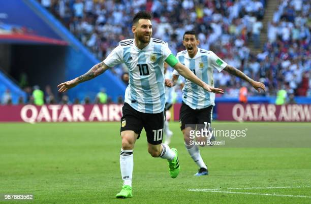 Lionel Messi of Argentina celebrates after teammate Gabriel Mercado scores their team's second goal during the 2018 FIFA World Cup Russia Round of 16...