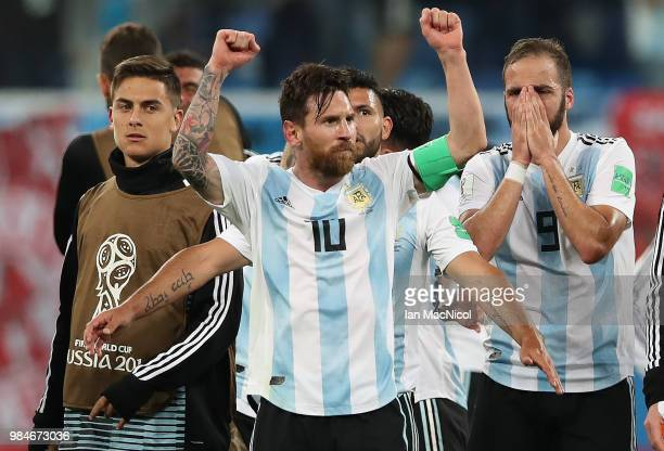 Lionel Messi of Argentina celebrates during the 2018 FIFA World Cup Russia group D match between Nigeria and Argentina at Saint Petersburg Stadium on...