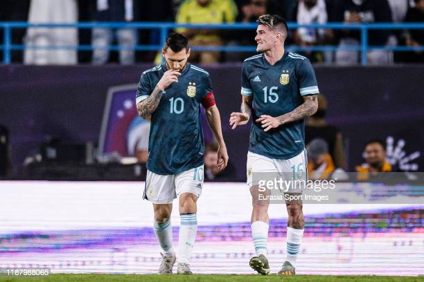 Lionel Messi of Argentina celebrates his goal during the international friendly match between Brazil and Argentina at the King Saud University...