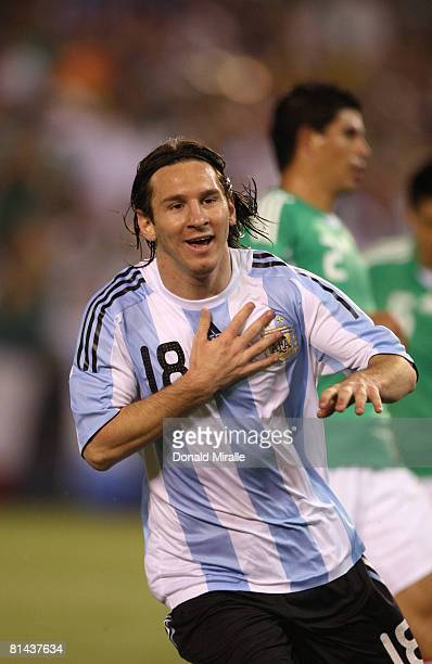 Lionel Messi of Argentina celebrates his goal during the international friendly match between Argentina and Mexico at Qualcomm Stadium on June 4,...