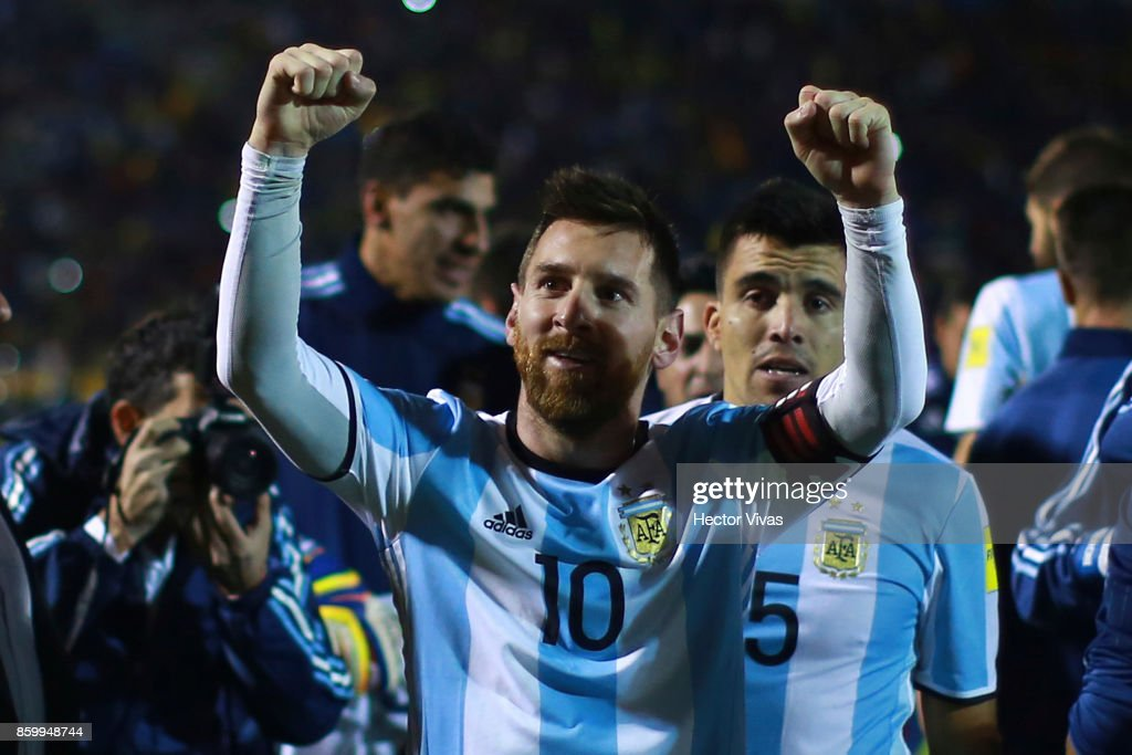 Lionel Messi of Argentina celebrates qualifying to the World Cup after winning a match between Ecuador and Argentina as part of FIFA 2018 World Cup Qualifiers at Olimpico Atahualpa Stadium on October 10, 2017 in Quito, Ecuador.