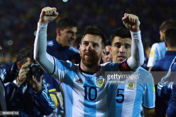 Lionel Messi of Argentina celebrates qualifying to the World Cup after winning a match between Ecuador and Argentina as part of FIFA 2018 World Cup...