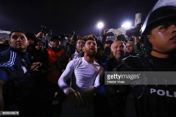 Lionel Messi of Argentina celebrates qualifying to the World Cup after winning the game during a match between Ecuador and Argentina as part of FIFA...