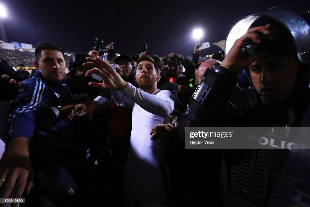 Lionel Messi of Argentina celebrates qualifying to the World Cup after winning the game during a match between Ecuador and Argentina as part of FIFA 2018 World Cup Qualifiers at Olimpico Atahualpa Stadium on October 10, 2017 in Quito, Ecuador.