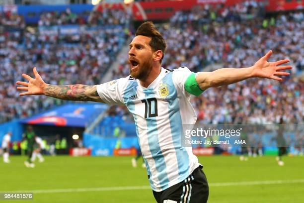 Lionel Messi of Argentina celebrates scoring a goal to make it 01 during the 2018 FIFA World Cup Russia group D match between Nigeria and Argentina...