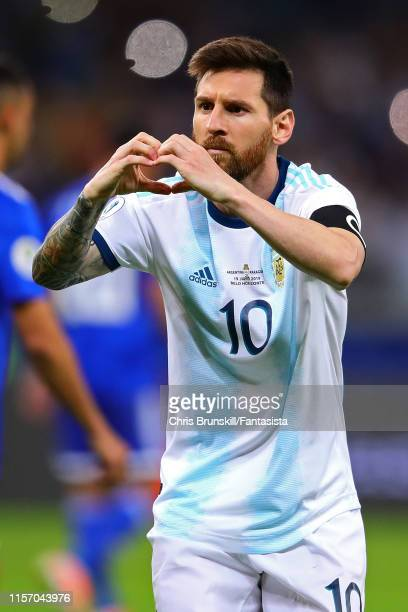 Lionel Messi of Argentina celebrates scoring from the penalty spot during the Copa America Brazil 2019 group B match between Argentina and Paraguay...