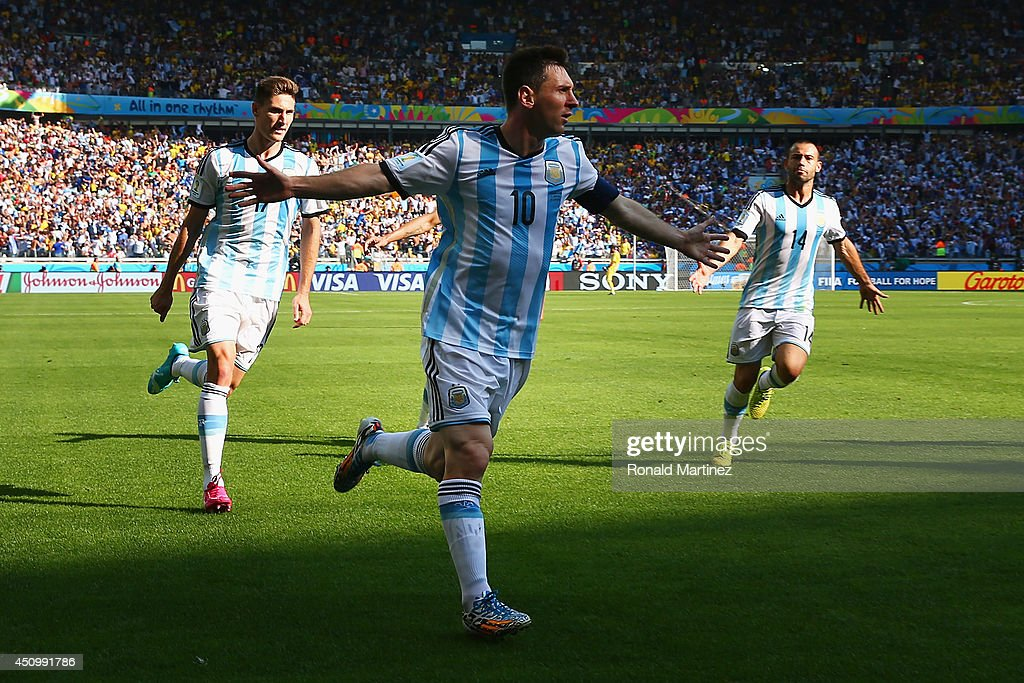 Lionel Messi of Argentina celebrates scoring his team's first goal during the 2014 FIFA World Cup Brazil Group F match between Argentina and Iran at Estadio Mineirao on June 21, 2014 in Belo Horizonte, Brazil.