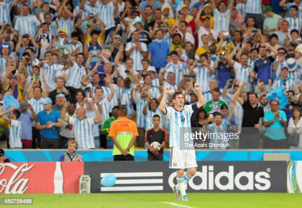 Lionel Messi of Argentina celebrates scoring his team's second goal during the 2014 FIFA World Cup Brazil Group F match between Argentina and...