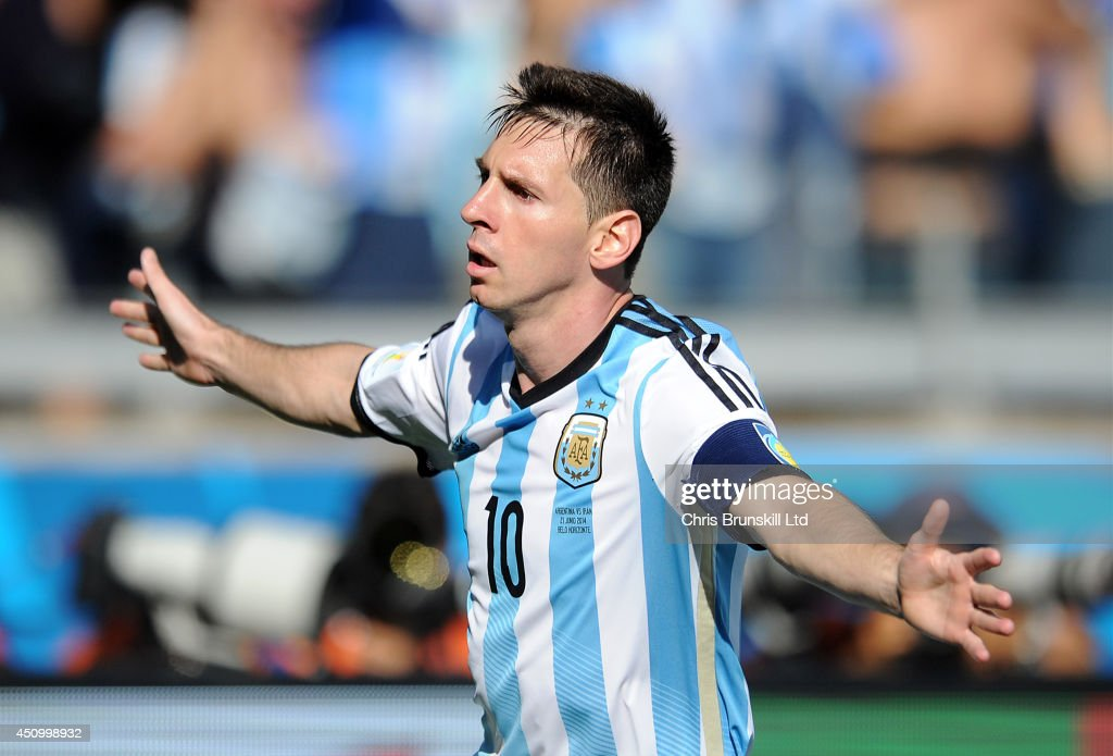 Lionel Messi of Argentina celebrates scoring the opening goal during the 2014 FIFA World Cup Brazil Group F match between Argentina and Iran at Estadio Mineirao on June 21, 2014 in Belo Horizonte, Brazil.
