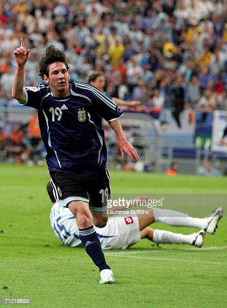Lionel Messi of Argentina celebrates scoring the sixth goal during the FIFA World Cup Germany 2006 Group C match between Argentina and Serbia...