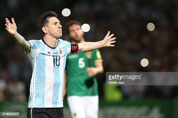 Lionel Messi of Argentina celebrates the second goal of his team during a match between Argentina and Bolivia as part of FIFA 2018 World Cup...