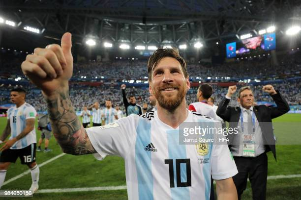 Lionel Messi of Argentina celebrates victory during the 2018 FIFA World Cup Russia group D match between Nigeria and Argentina at Saint Petersburg...