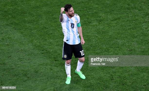 Lionel Messi of Argentina celebrates victory following the 2018 FIFA World Cup Russia group D match between Nigeria and Argentina at Saint Petersburg...