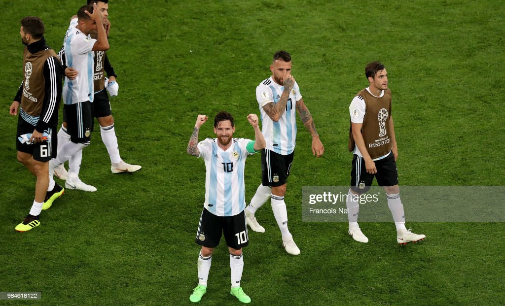 Lionel Messi of Argentina celebrates victory following the 2018 FIFA World Cup Russia group D match between Nigeria and Argentina at Saint Petersburg Stadium on June 26, 2018 in Saint Petersburg, Russia.