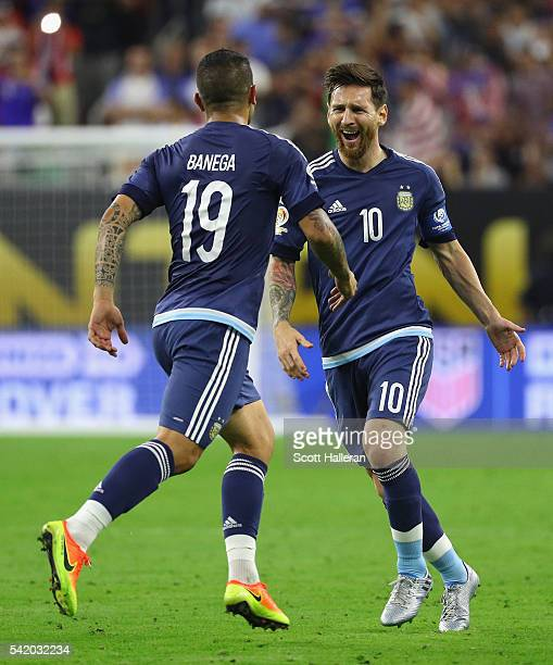 Lionel Messi of Argentina celebrates with Ever Banega after scoring a goal on a free kick in the first half against the United States during a 2016...
