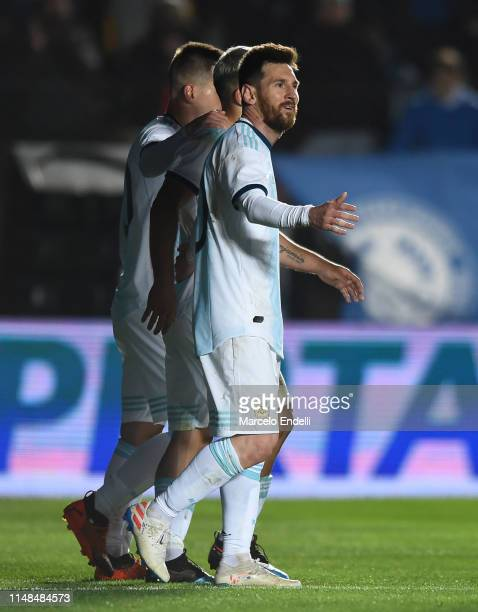 Lionel Messi of Argentina celebrates with teammates after scoring the second goal of his teamduring a friendly match between Argentina and Nicaragua...