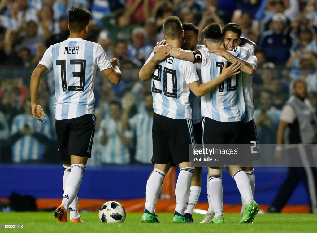 Lionel Messi of Argentina celebrates with teammates after scoring the third goal of his team during an international friendly match between Argentina and Haiti at Alberto J. Armando Stadium on May 29, 2018 in Buenos Aires, Argentina.