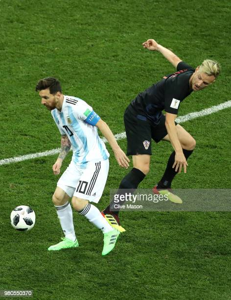 Lionel Messi of Argentina challenge for the ball with Ivan Rakitic of Croatia during the 2018 FIFA World Cup Russia group D match between Argentina...