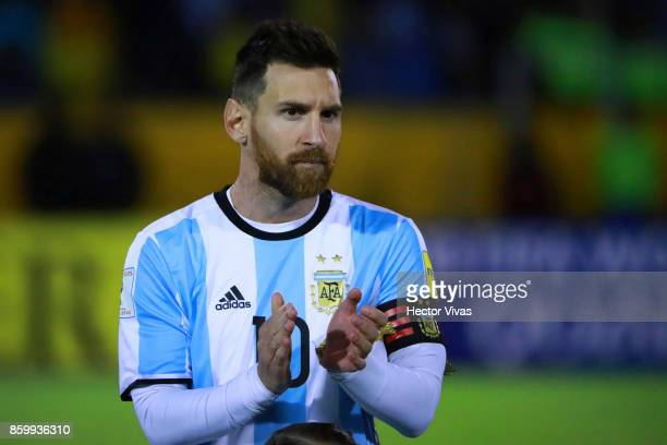 Lionel Messi of Argentina claps prior a match between Ecuador and Argentina as part of FIFA 2018 World Cup Qualifiers at Olimpico Atahualpa Stadium...